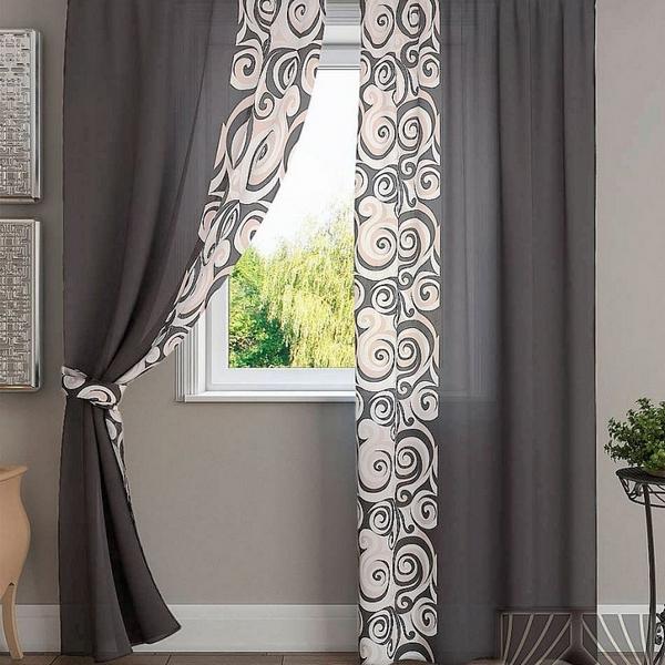Комплект штор Хенди (серо-коричневый) Портьера 2 шт. — 150х280 см.