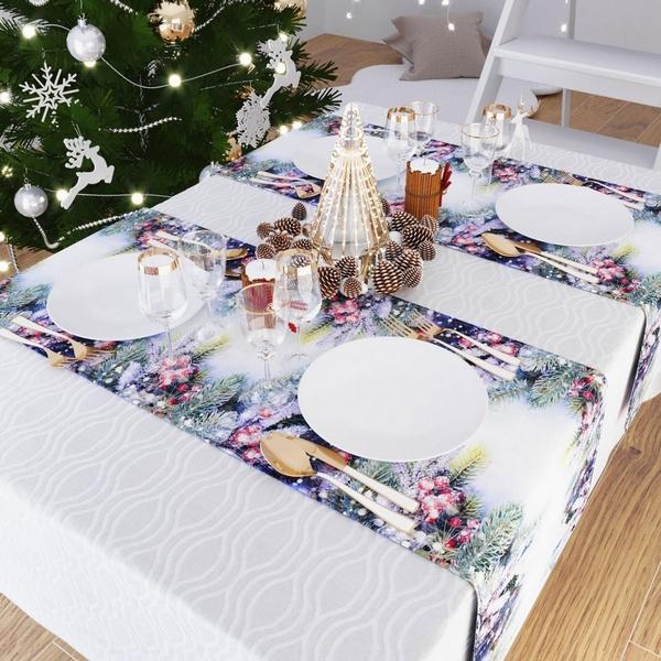 Дорожка на стол, шелковистая 140x40, Сатен Новый год