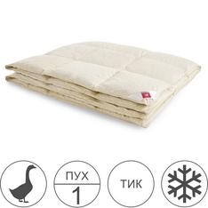 Одеяло 200х220 тёплое из серого гусиного пуха 1 категории кассетное, Камелия