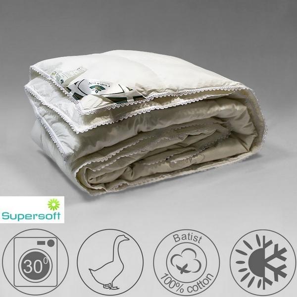 Одеяло 220х200 всесезонное из белого гусиного пуха экстра кассетное, Идеальное приданое