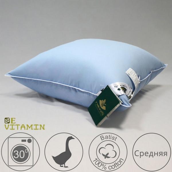 Подушка 68х68 средней мягкости из серого гусиного пуха экстра, Витаминный коктейль
